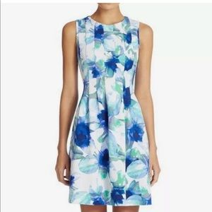 Vince Camuto Floral Scuba Sleeveless Dress Blue 8